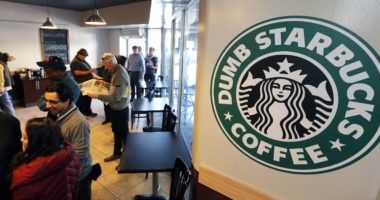 "People wait at Dumb Starbucks coffee in Los Angeles Monday, Feb. 10, 2014.  The store resembles a Starbucks with a green awning and mermaid logo, but with the word ""Dumb"" attached above the Starbucks sign. Spokeswoman Laurel Harper says the store is not affiliated with Starbucks and, despite the humor, the store cannot use the Starbucks name. (AP Photo/Damian Dovarganes)"