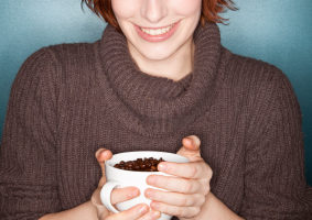redhead with coffee